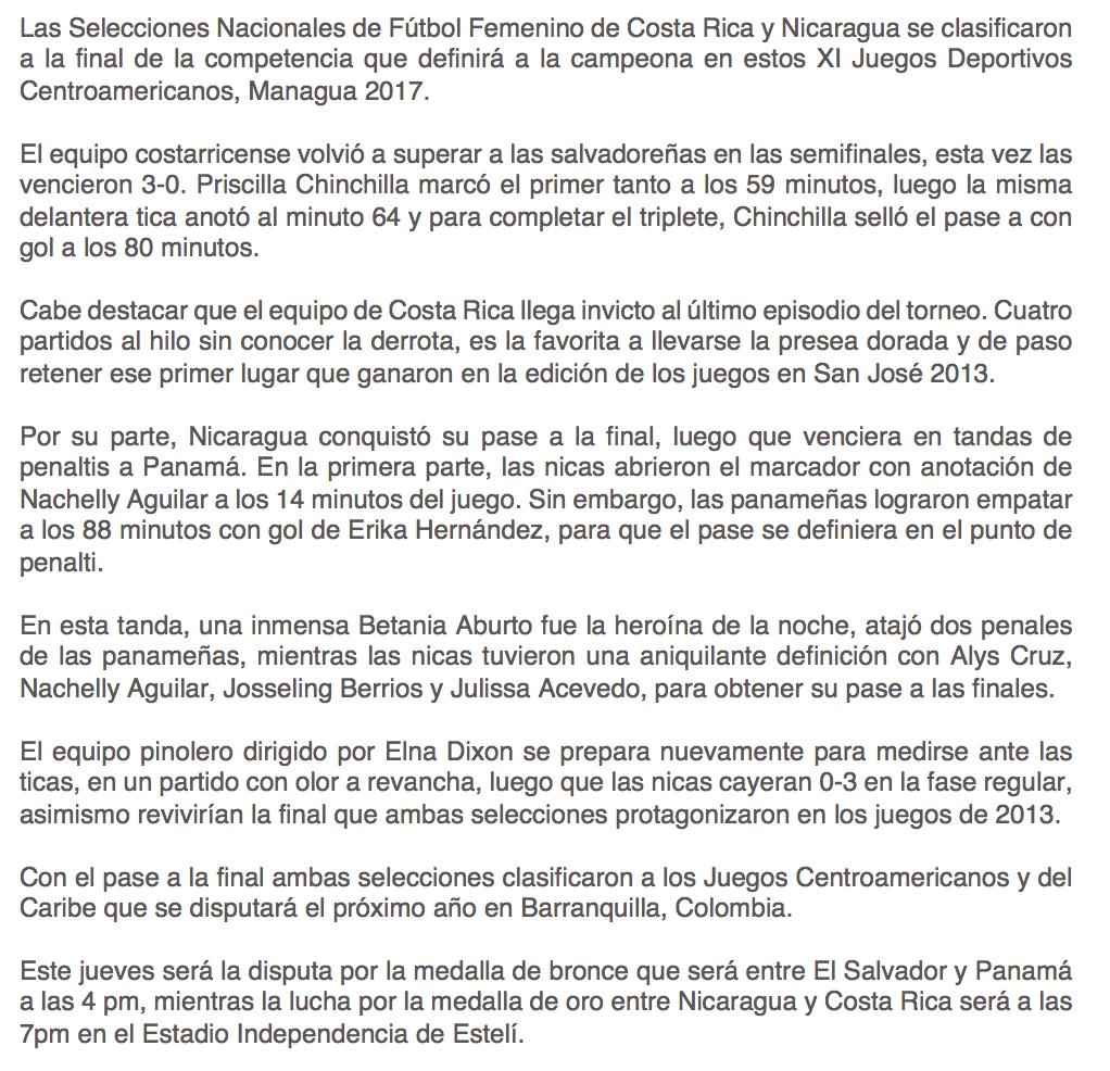 Costa Rica y Nicaragua disputaran la Medalla de Oro en el Futbol ...
